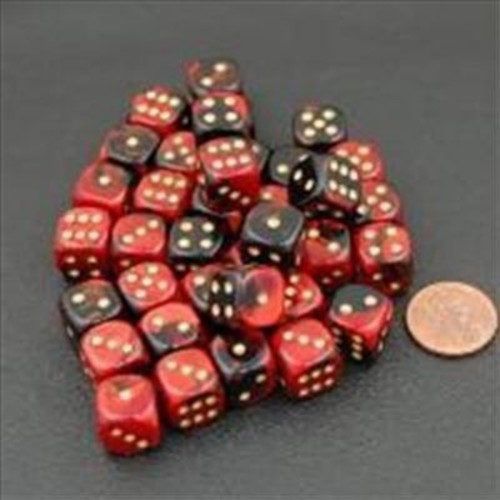 Chessex Manufacturing 26833 D6 Cube Gemini Set Of 36 Dice, 12 mm - Black & Red With Gold Numbering( ACDD2103)