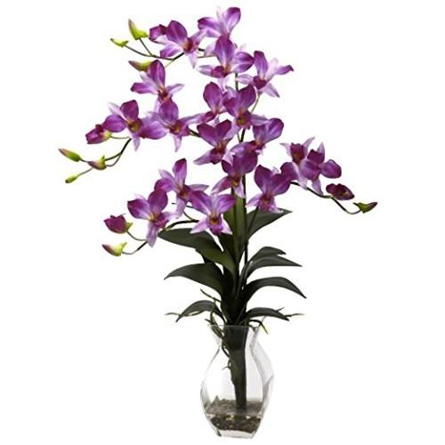 Dendrobium Purple Orchid Silk Flower Arrangement with Vase