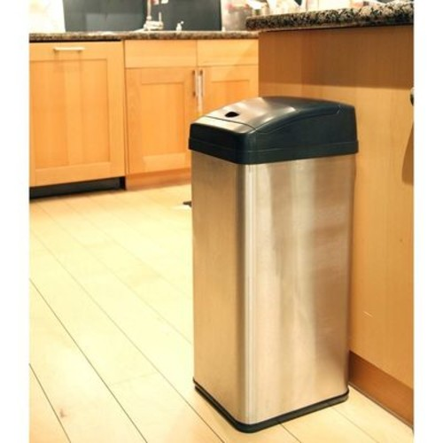 iTouchless 13 Gallon Extra-Wide Opening Stainless Steel Touchless Trash Can MX