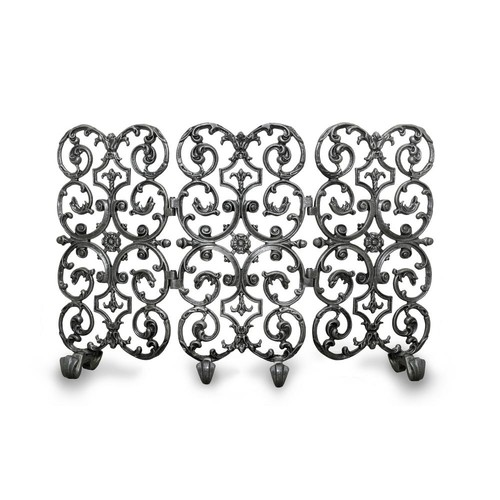 Avalon Silver Rub 3-Panel 46 in. wide Fireplace Screen