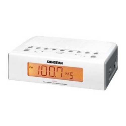 Sangean Digital Tuning Clock Radio - AM/FM, Timer Selection, Digital Tuning, LCD Display, Dual Alarm, Snooze, Adjustable Nap & Sleep Timer, White - RCR-5