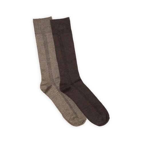 Basic Editions Men's 2 Pairs Ribbed Dress Socks