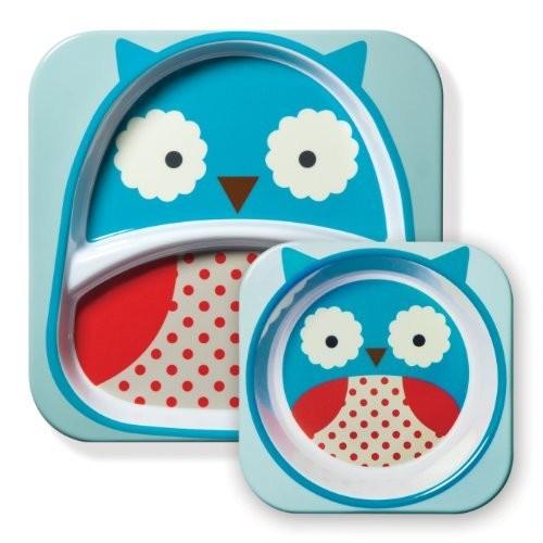 Skip Hop Baby Zoo Little Kid and Toddler Feeding Melamine Divided Plate and Bowl Mealtime Set, Multi Otis Owl [Owl]