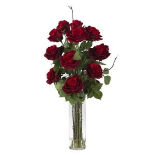 Nearly Natural 27 in. H Red Roses with Cylinder Vase Silk Flower Arrangement