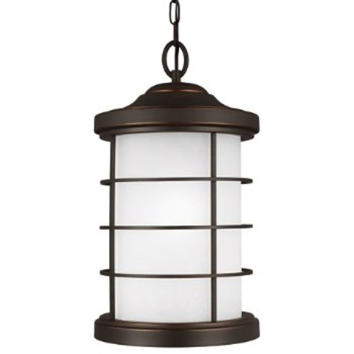 Sauganash Outdoor Pendant with Etched Seeded Glass [Light Option : Incandescent; Finish : Antique Bronze]