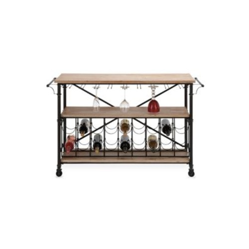 Uma - Wood & Iron Rolling Wine Rack