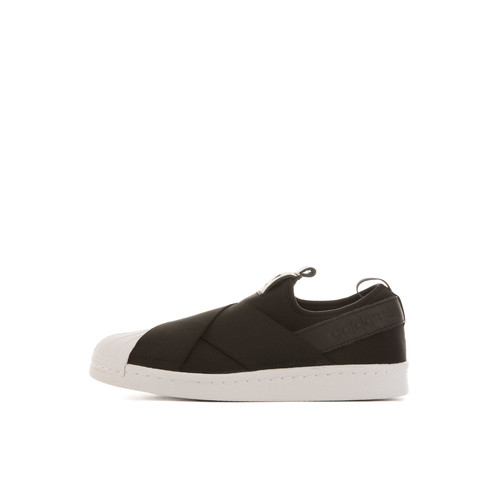 The adidas Women's Superstar Slip On Sneaker in Core Black and White