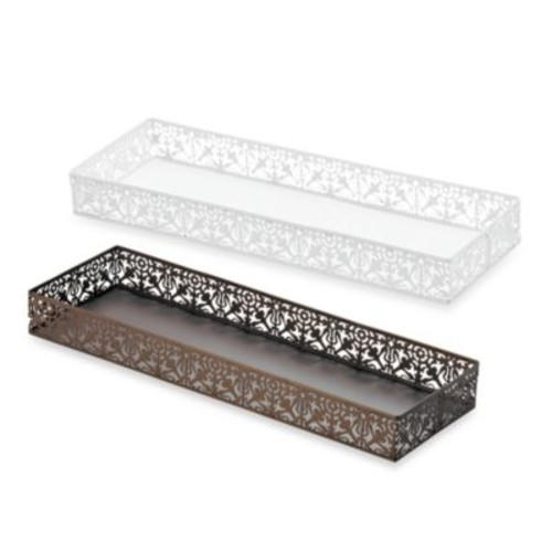 Steel Lace Toilet Tank Tray in White