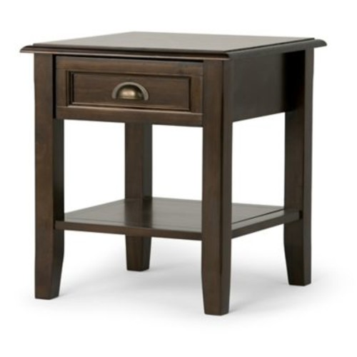Simpli Home Burlington End Table in Espresso Brown