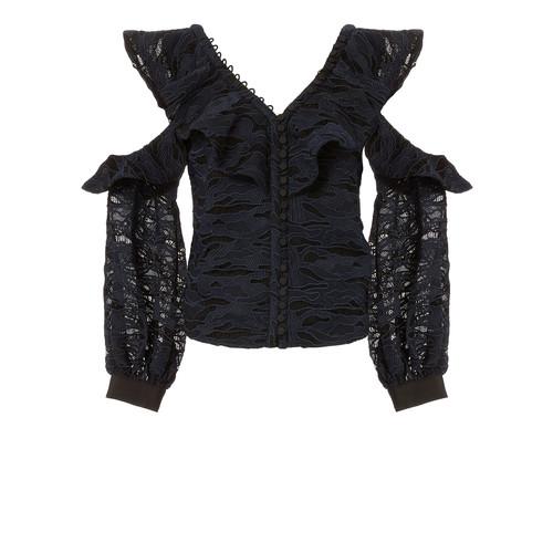 SELF-PORTRAIT Camo Lace Cold Shoulder Top