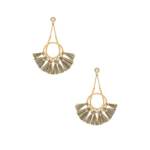 Rebecca Minkoff Utopia Tassel Chandelier Earrings in Gold & Metallic Tassels