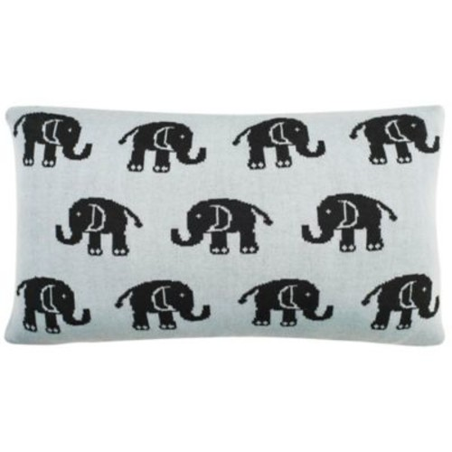 Safavieh Baby Elephant Oblong Throw Pillow in Sky Blue/Charcoal