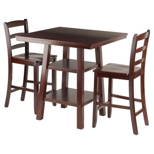 3 Piece Orlando Set 2 Shelves High Table with Ladder Back Counter Stools Wood/Walnut - Winsome