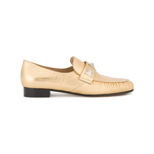 Gold Leather Rockstud loafers