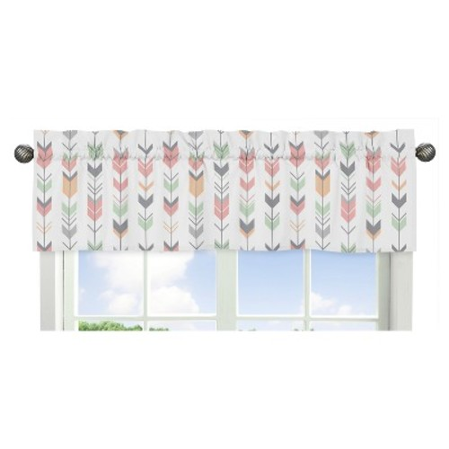 Sweet Jojo Designs Window Valance - Mod Arrow - Coral/Mint