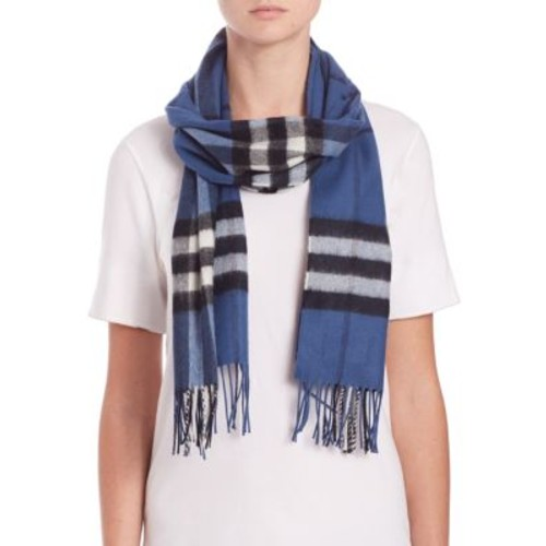BURBERRY Cadet Blue Giant Check Cashmere Scarf