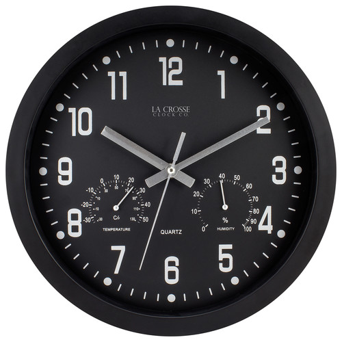 La Crosse Clock 404-2631 12 Inch Round Black In/Out Analog Wall Clock with Temperature & Humidity