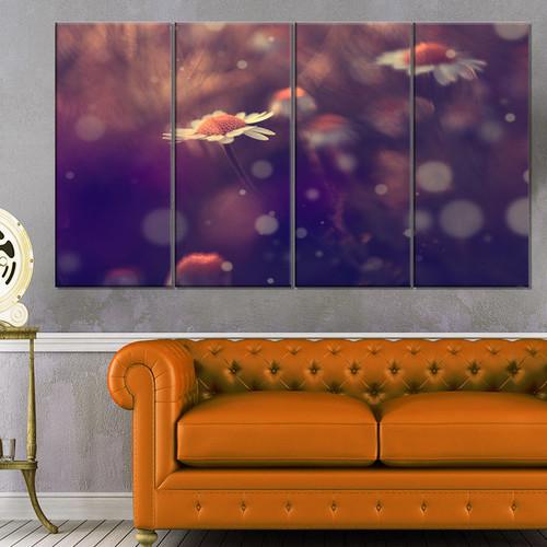 Designart 'Cute Vintage Flower With Bokeh' Large Flower Canvas Art Print