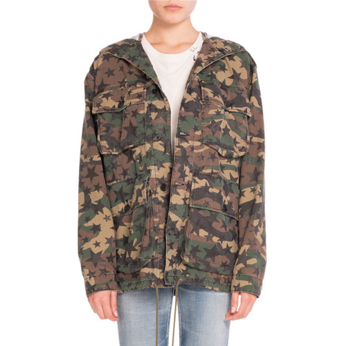 SAINT LAURENT Star-Print Camo Cargo Jacket, Khaki