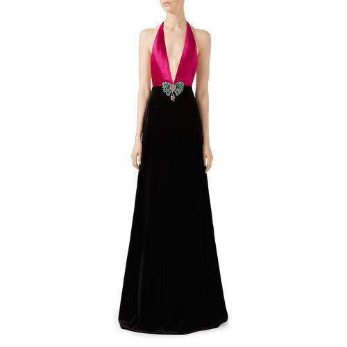 GUCCI Soft Cotton Velvet Stretch Gown, Pink/Black