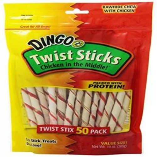 Design With Prestige LLC Dingo 50 Pack Twist Stix Rawhide Chews