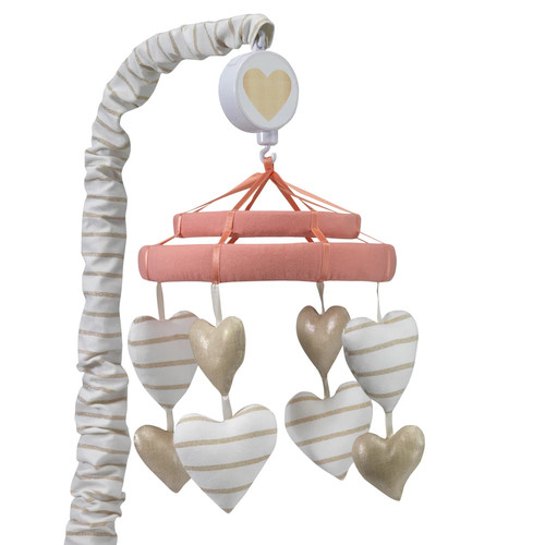 Lambs & Ivy Dawn White/Gold Heart Musical Mobile