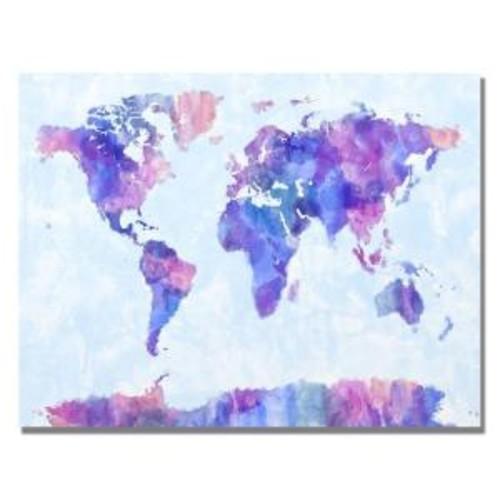Trademark Fine Art 22 in. x 32 in. Watercolor World Map IV Canvas Art