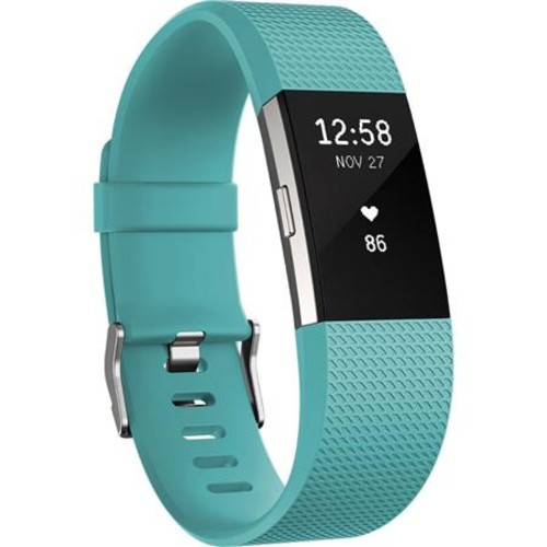 Fitbit Charge 2 Heart Rate + Fitness Tracker Wristband, Small, Teal/Silver FB407STES