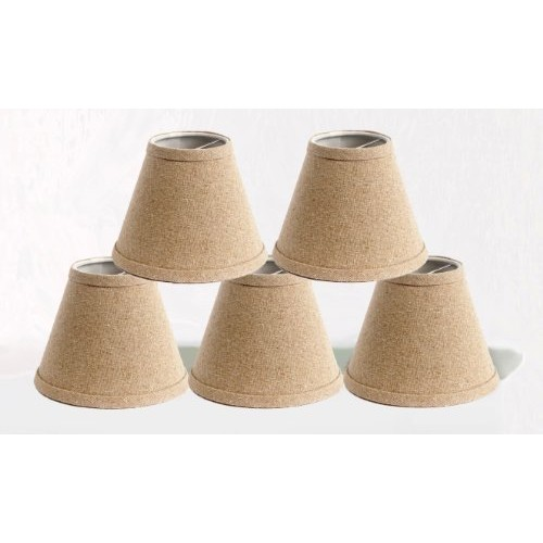 Urbanest Set of 5 Natural Pure Linen Chandelier Lamp Shade, 3-inch by 6-inch by 5-inch, Clip-on, Hardback [Natural Linen, Set of 5]