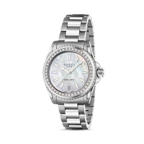 GUCCI Dive Stainless Steel And Mother-Of-Pearl Watch With Diamonds, 32 Mm