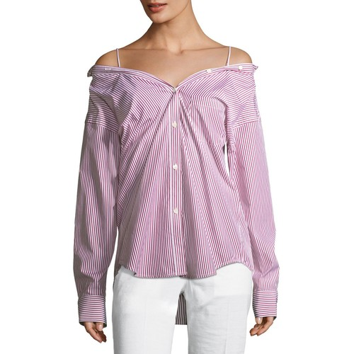 THEORY Tamalee Off-The-Shoulder Striped Button-Front Top