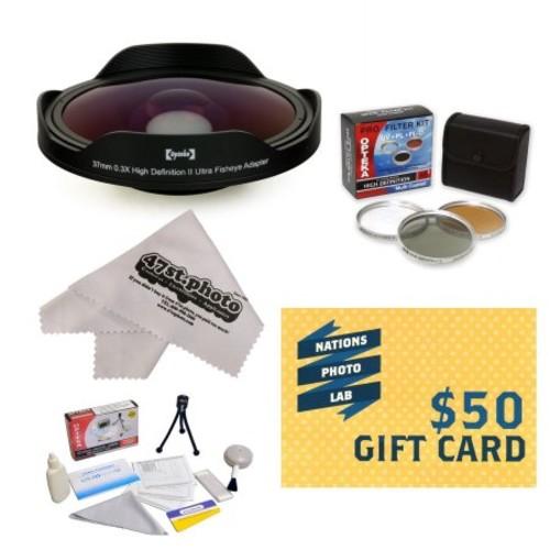 Opteka Platinum Series 0.3X HD Ultra Fisheye Lens for Canon VIXIA HF21, HF R20, HF R200, HF M30, HF M31, HF M32, HF M300 & ZR960 with 3 PC Filter, Mini Tripod, Microfiber Cloth, $50 Gift Card!