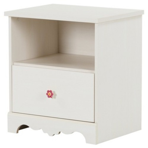 Lily Rose 1 - Drawer Nightstand - White Wash - South Shore