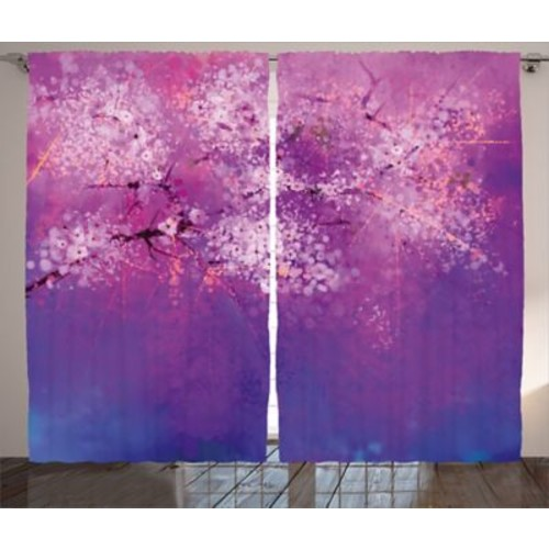 Victor Watercolor Flower Graphic Print & Text Semi-Sheer Rod Pocket Curtain Panels (Set of 2)