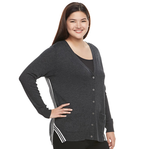 Juniors' Plus Size SO Striped Trim Varsity Cardigan
