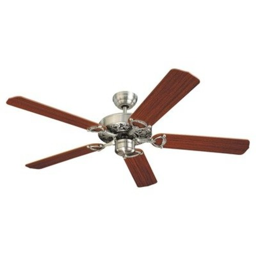 Monte Carlo 5OR52RB Ornate 52-Inch 5-Blade Ceiling Fan with Teak Blades, Roman Bronze [Roman Bronze]