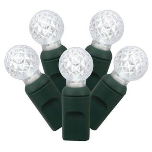 Vickerman Set of 50 Cool White Commercial Grade LED G12 Berry Christmas Lights - Green Wire
