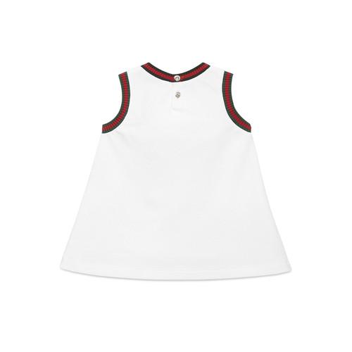 GUCCI Sleeveless Cotton Jersey Dress, White, Size 6-36 Months