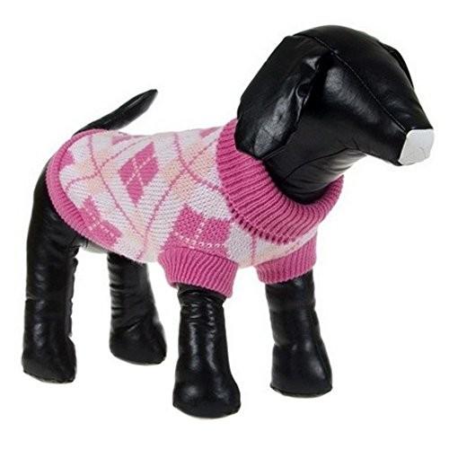 Argyle Style Ribbed Fashion Pet Sweater [Black/Blue Argyle, X-SMALL]