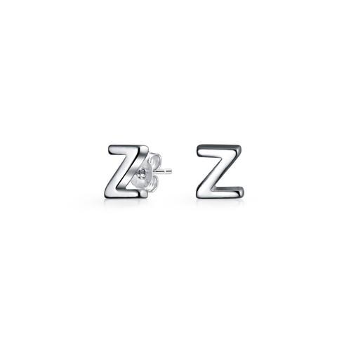 Bling Jewelry Modern Alphabet Letter Z Initial Stud earrings 925 Sterling Silver 55mm