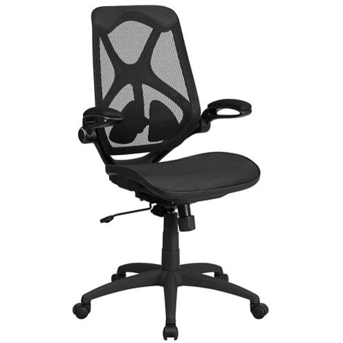High Back Transparent Mesh Executive Swivel Chair with Adjustable Lumbar, 2-Paddle Control and Flip-Up Arms