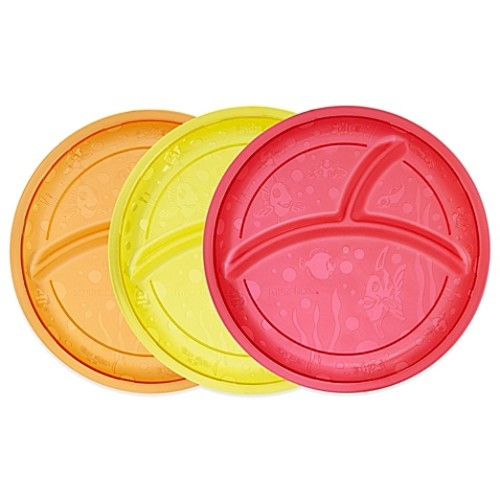 Munchkin 3-Pack Divided Plates in Red/Yellow/Orange
