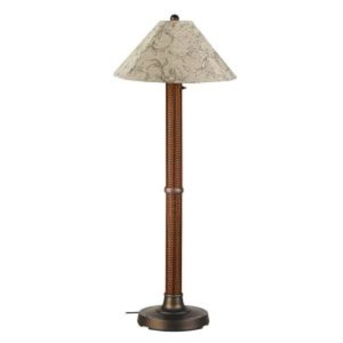 Patio Living Concepts Bahama Weave 60 in. Red Castango Floor Lamp with Bessemer Shade