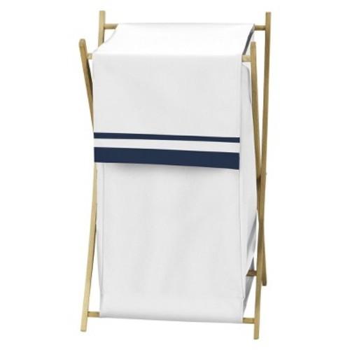Sweet Jojo Designs Hotel Laundry Hamper in White/Navy