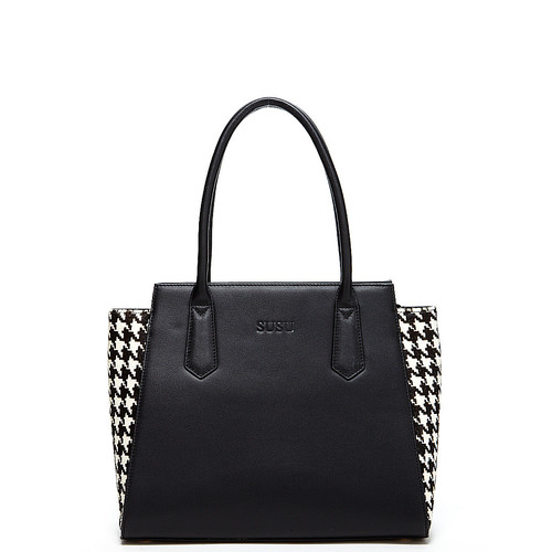 Jody Two Tone Leather Tote Black Houndstooth Shoulder Bag