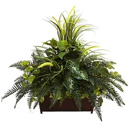 Nearly Natural Mixed Grass and River Fern in Wood Planter