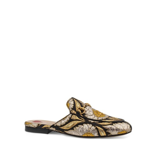 GUCCI Princetown Metallic Jacquard Slippers