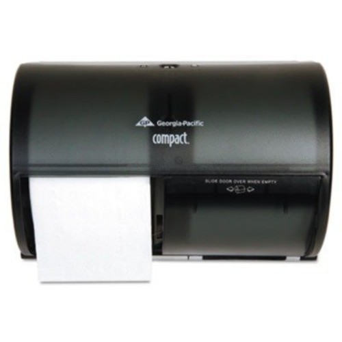 Georgia-Pacific Compact 56784 Translucent Smoke Side-By-Side Double Roll Bathroom Tissue Dispenser [Black]