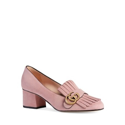 GUCCI Marmont Suede Mid Heel Loafers