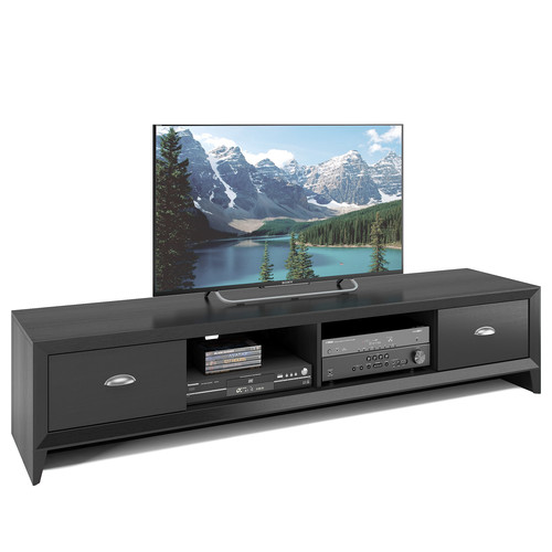 CorLiving Lakewood Extra Wide TV Bench in Black Wood Grain Finish, For TVs up to 80